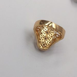 Handmade Jewelry - 18K GOLD PLATED WHITE CUBIC ZIRCONIA Size 9